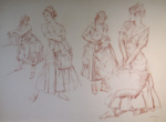 sir william russell flint four studies original red chalk drawing
