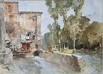 sir william russell flint Mill Barbaste original watercolour painting