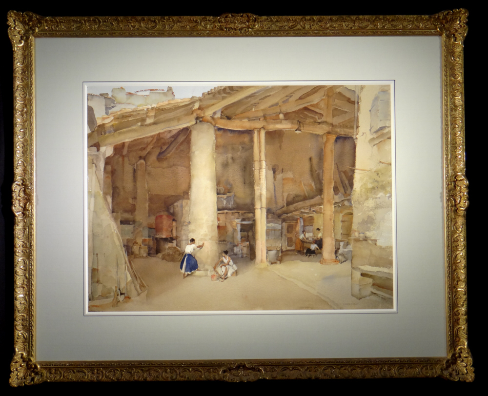 russell flint original painting, pink wash, vaunaveys, France