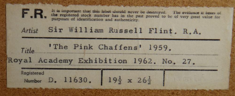 russell flint original painting, pink wash, vaunaveys, label