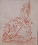 sir william russell flint, Rosalinda, original red chalk drawing