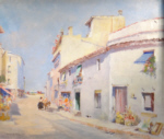 francis murray russell flint, Spanish street scene with donkey, oil painting