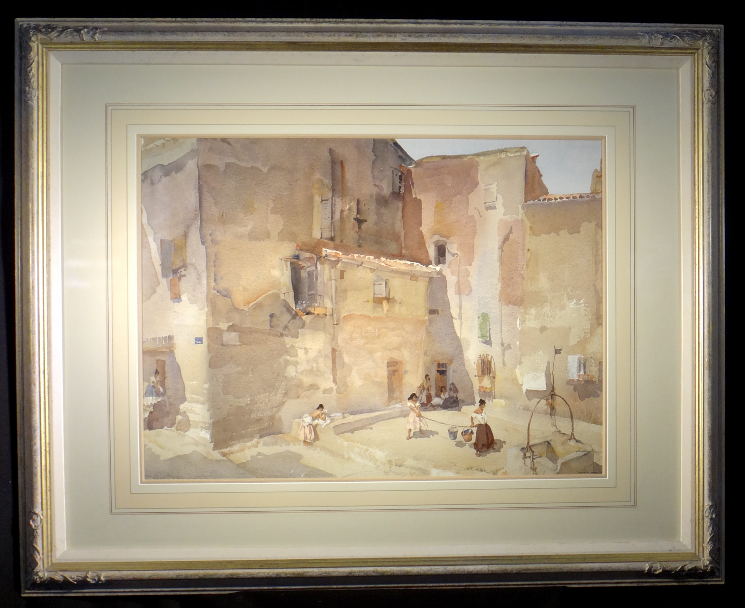 sir william russell flint paintings, Sunlit square, Languedoc