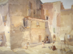russell flint Sunlit Square Languedoc original watercolour painting
