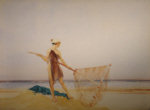 sir william russell flint, the shrimper, original watercolour painting