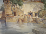 original watercolour paintings, sir william russell flint, Koi pond, cecilia,