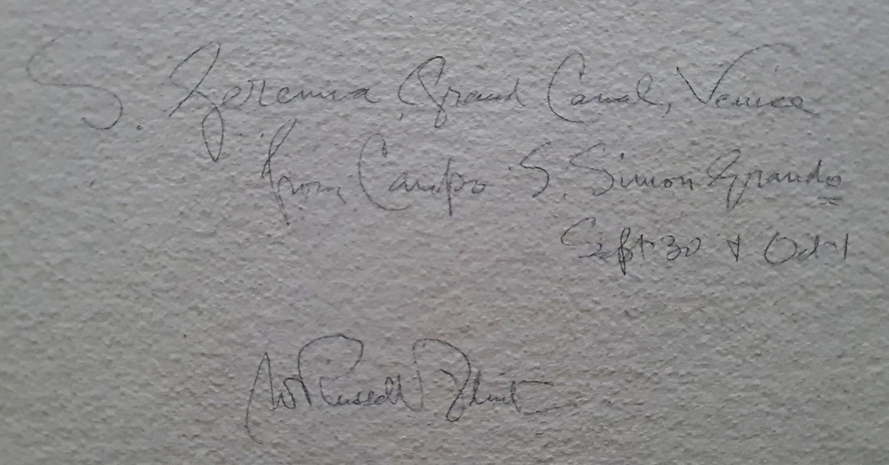 russell flint, original painting, Palazzo, San Geremia, Grand Canal, Venice, verso