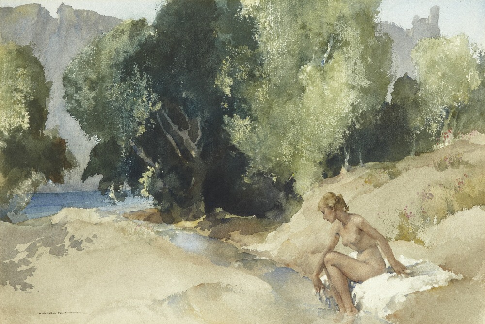 russell flint watercolour, priscilla by the ardeche