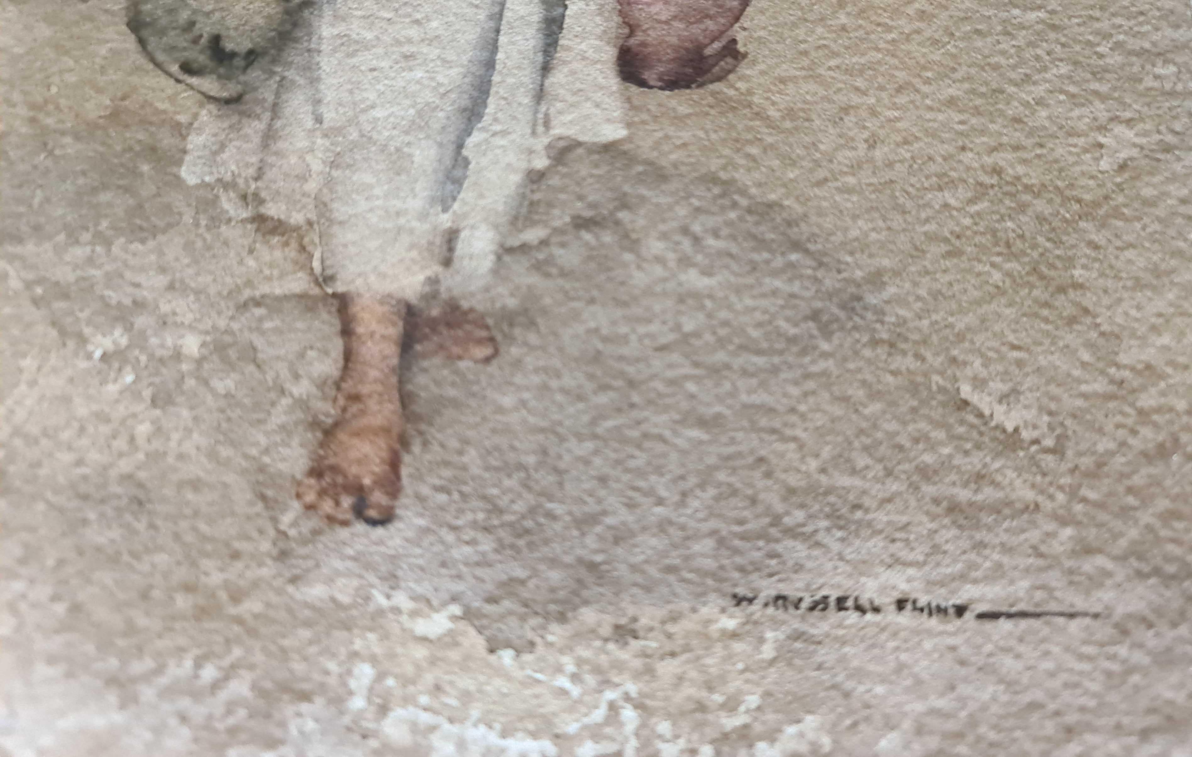 russell flint, original painting,Rebecca at Aigueze, France, signature