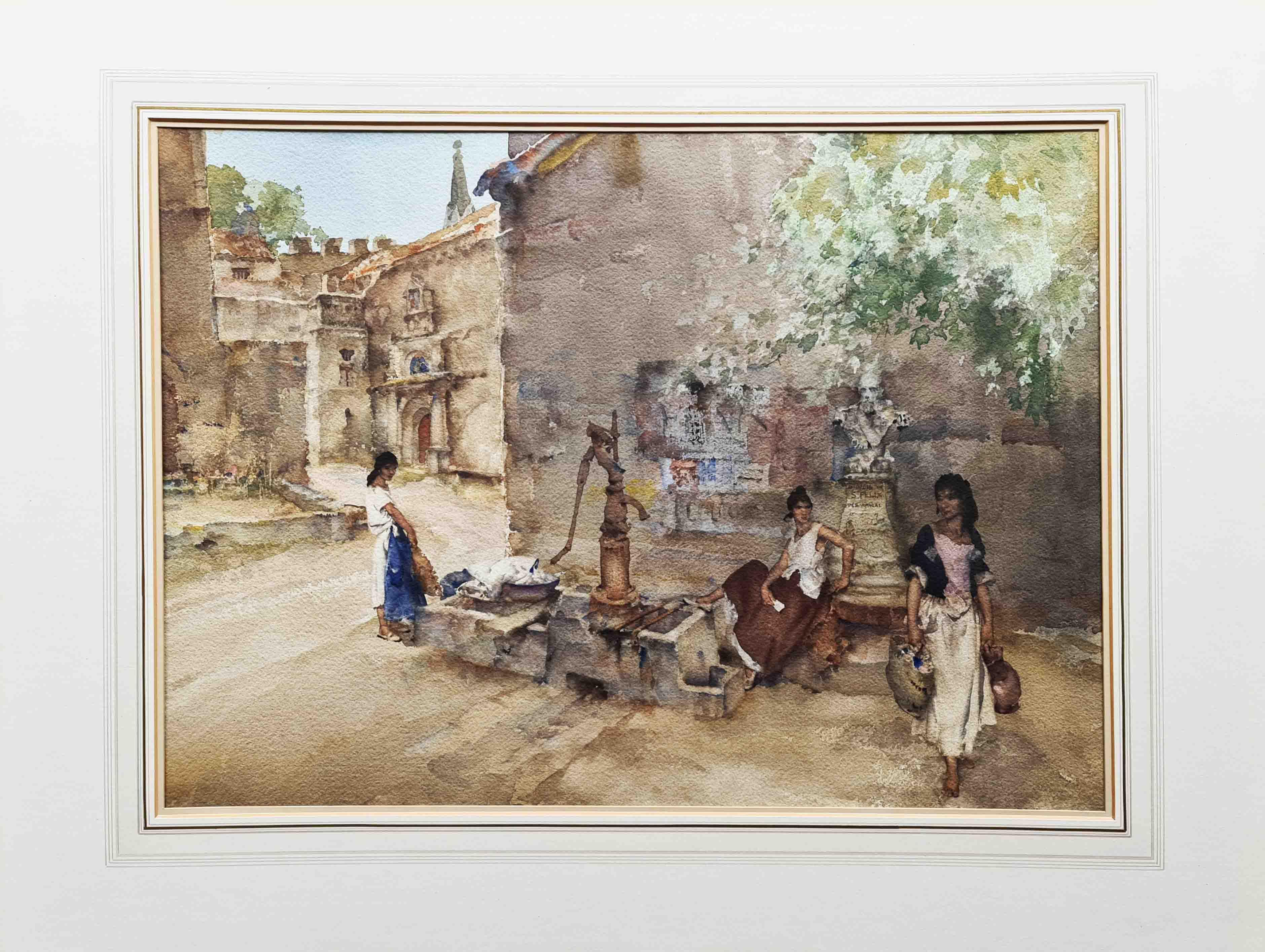 russell flint, original painting, Rebecca at Aigueze, France