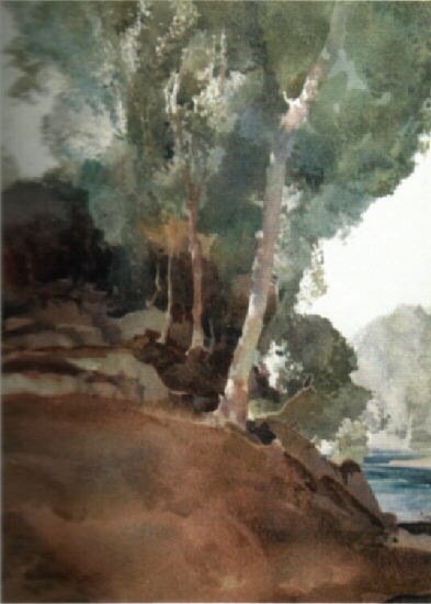 russell flint river Gard, Languedoc, watercolour,