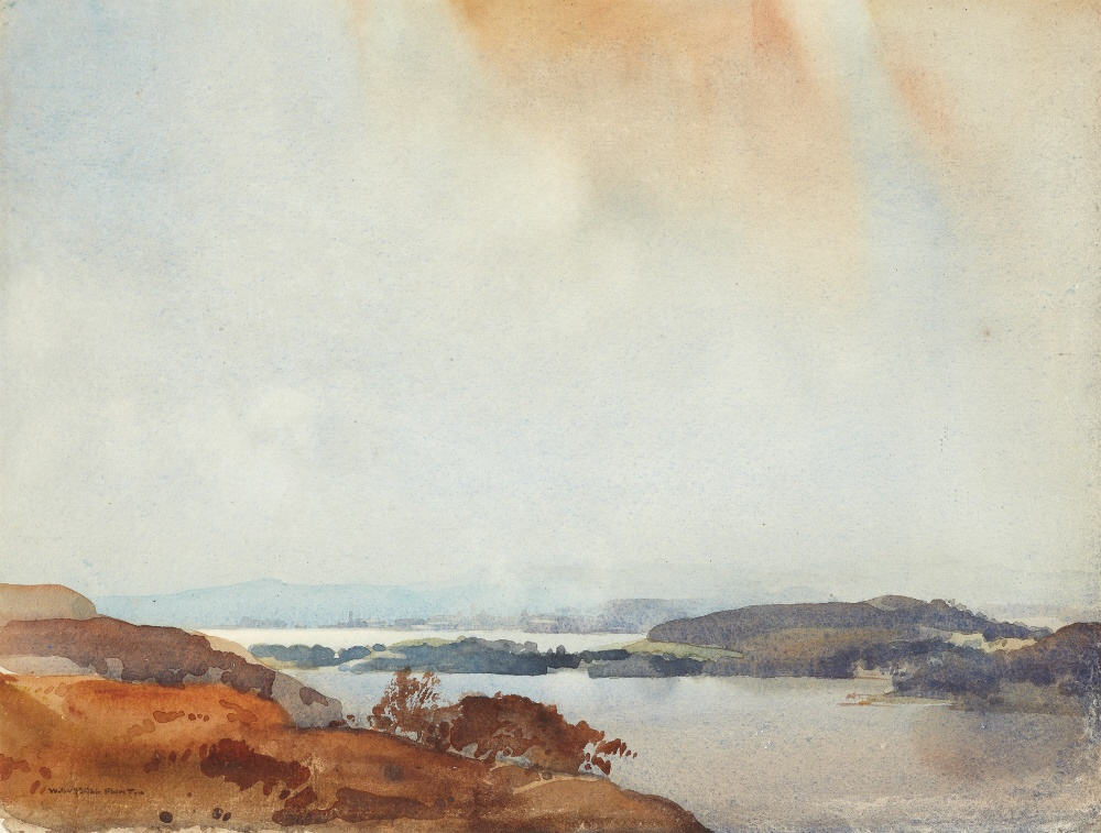 russell flint watercolour, Roseneath from above Shandon