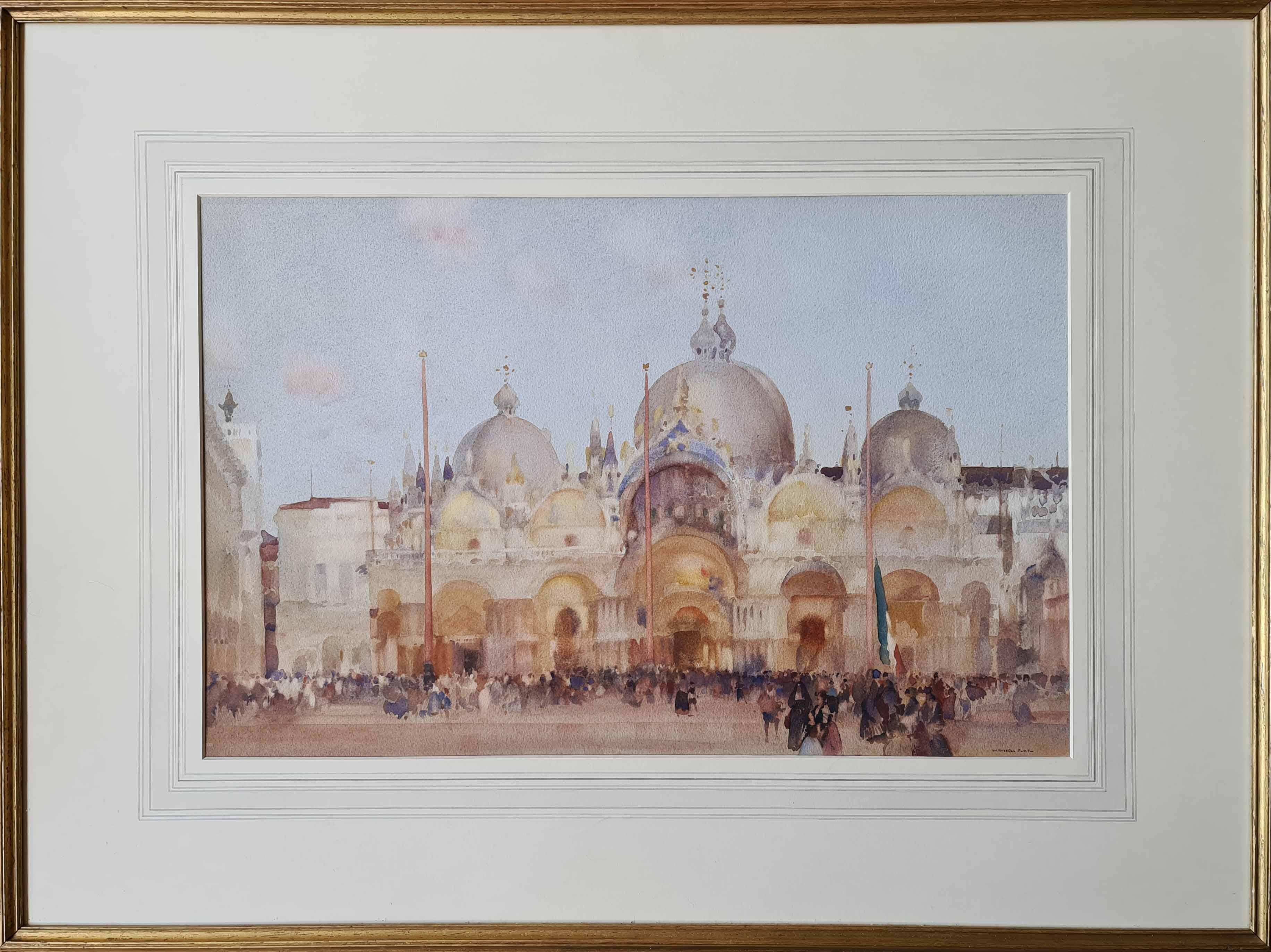 russell flint, original painting, Piazza San Marco, Venice