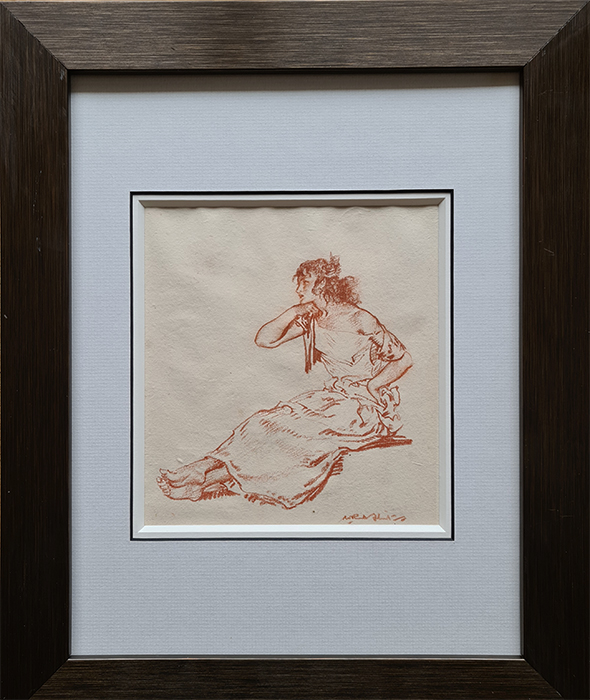 russell flint, original, drawing, red chalk, seated-figure