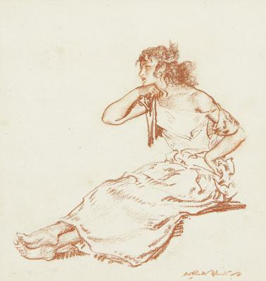 Rosalinda, original, seated-figure, red chalk drawing