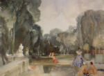 sir william russell flint le jardin secret, originals watercolours paintings