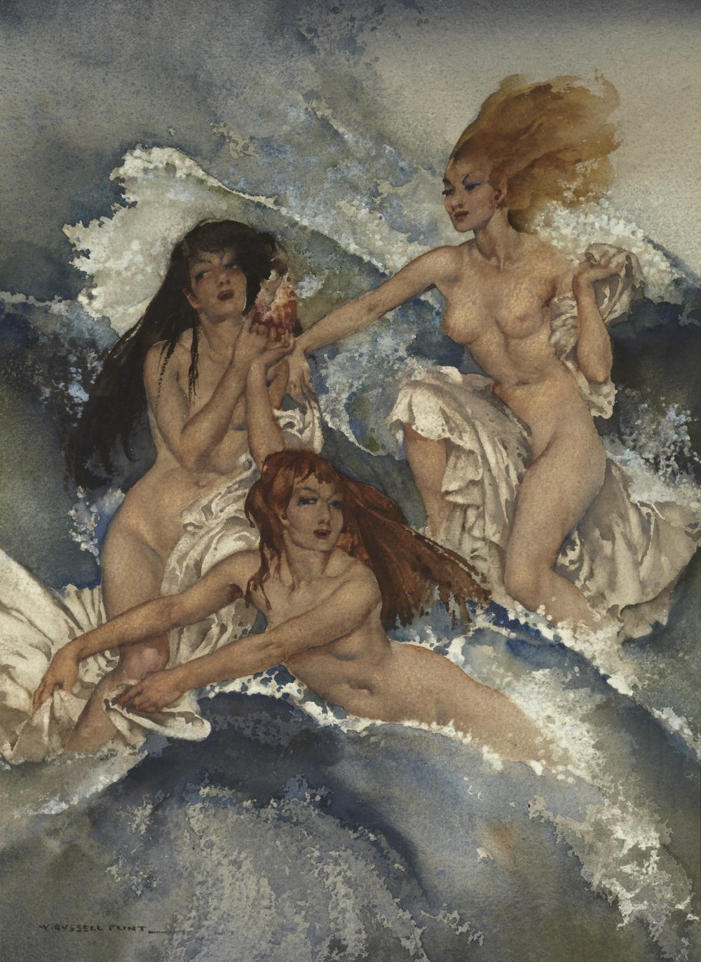 russell flint watercolour, sirens