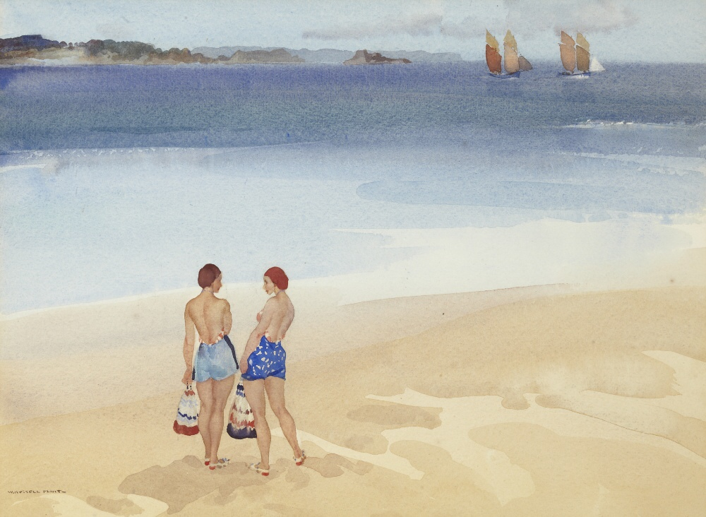 russell flint watercolour,  sisters at Dinard