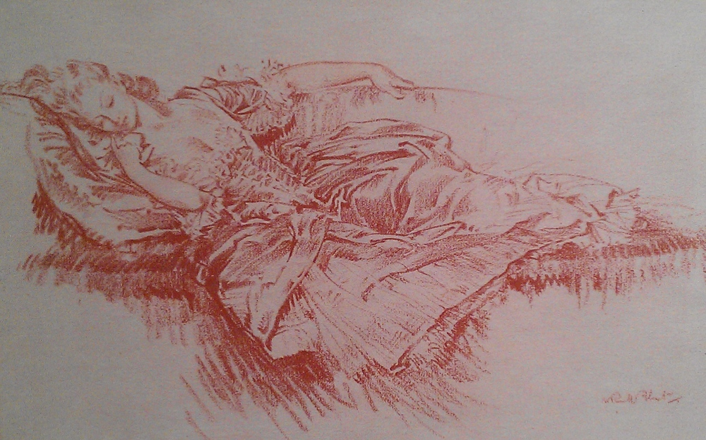sir william russell flint sleeping favouriteoriginal red chalk drawing