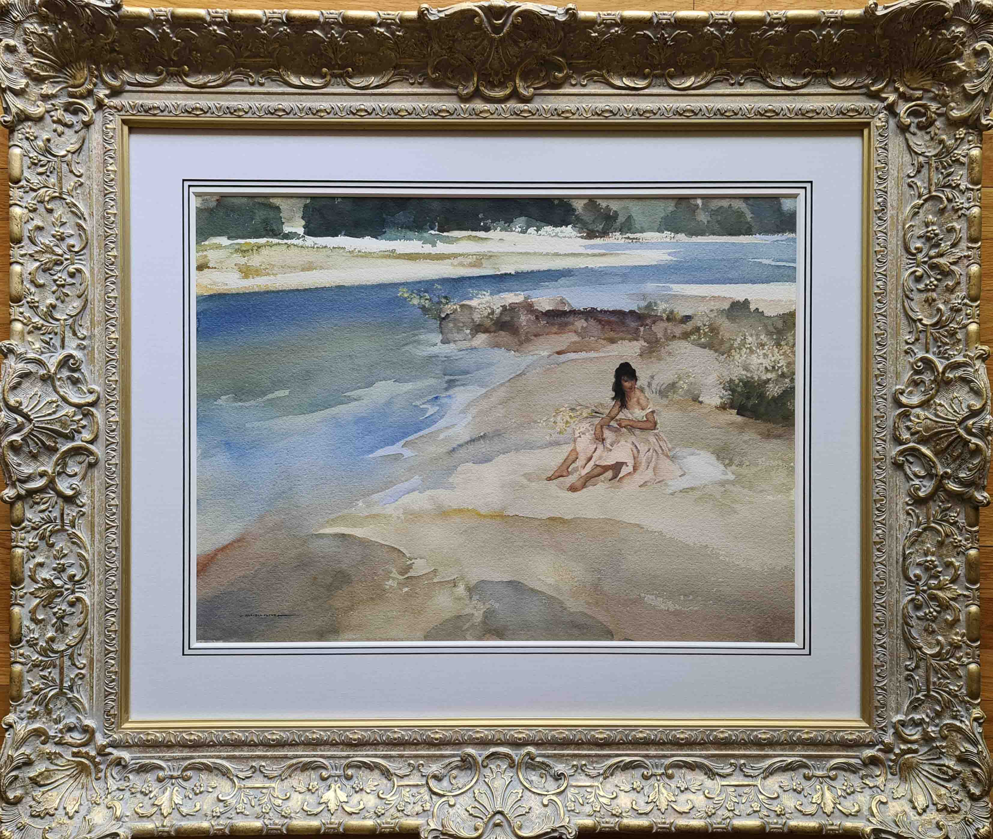 russell flint, original painting, Springtime in the Ardeche, France