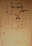 russell flint, St. Jean de Cole, well, original pencil drawing
