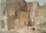 sir william russell flint Sunlit Square Languedoc original watercolour painting
