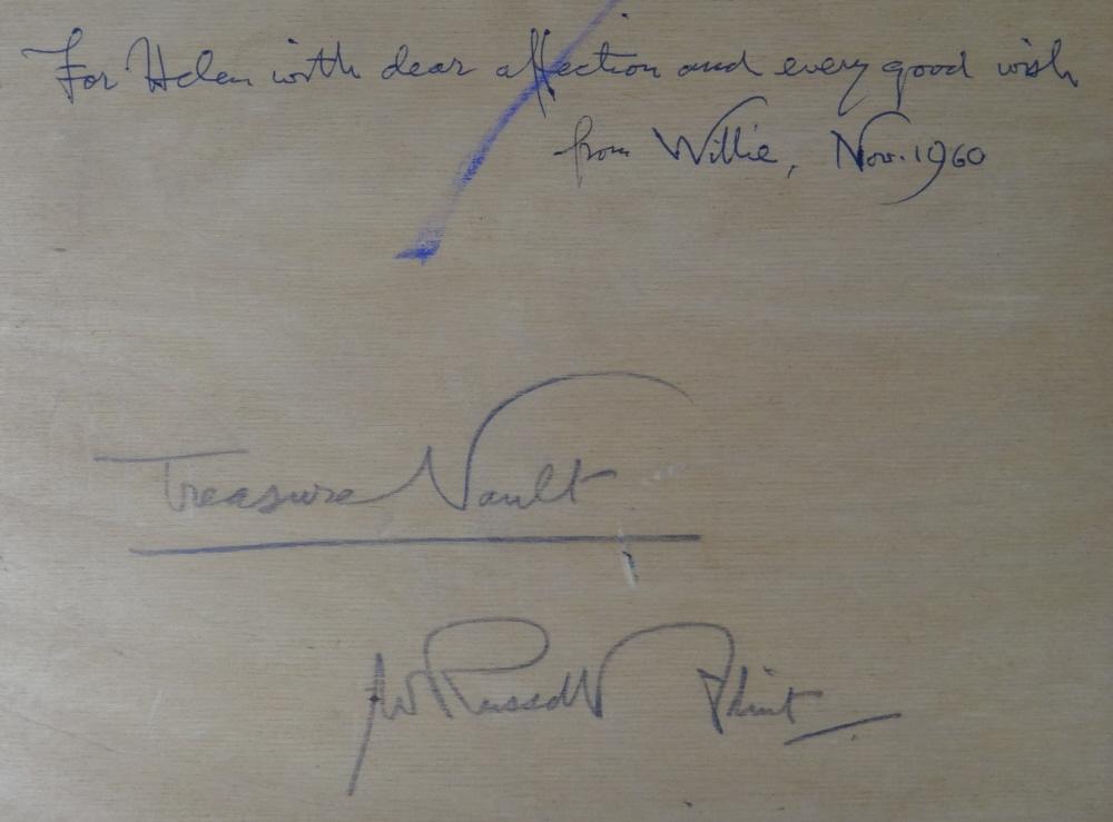 russell flint watercolour, the vault, verso