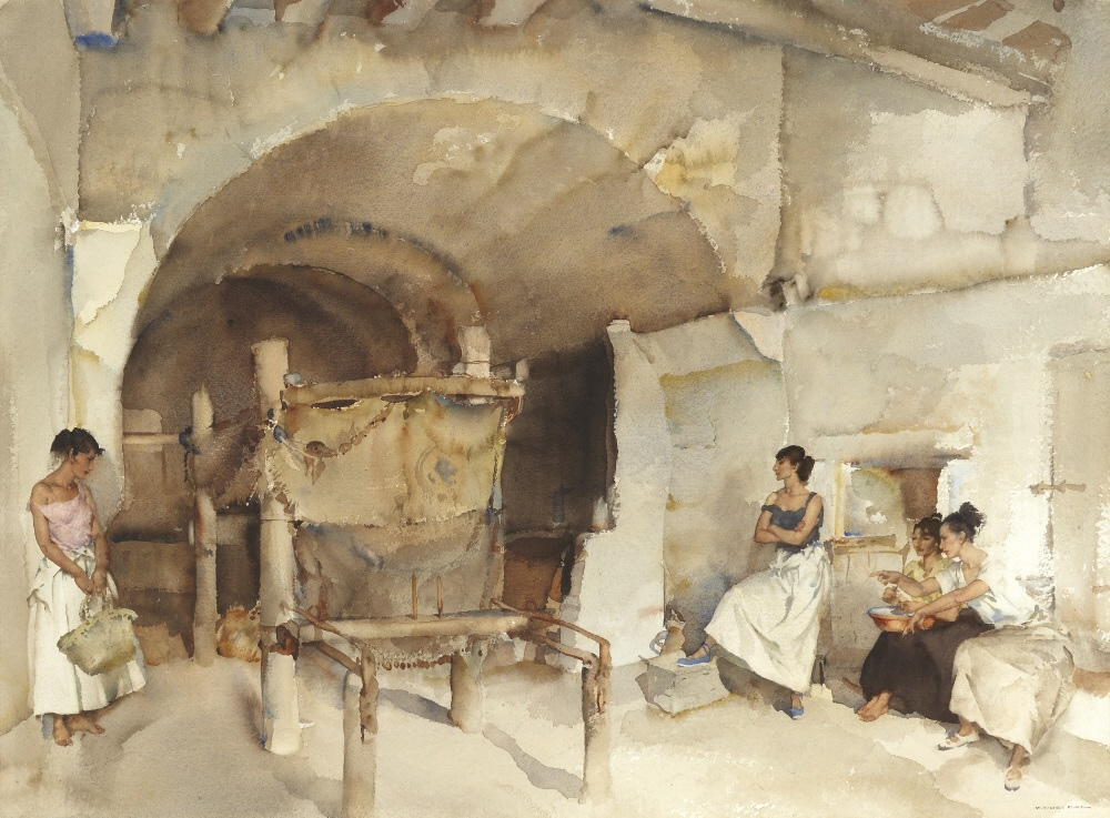 russell flint watercolour, three against one