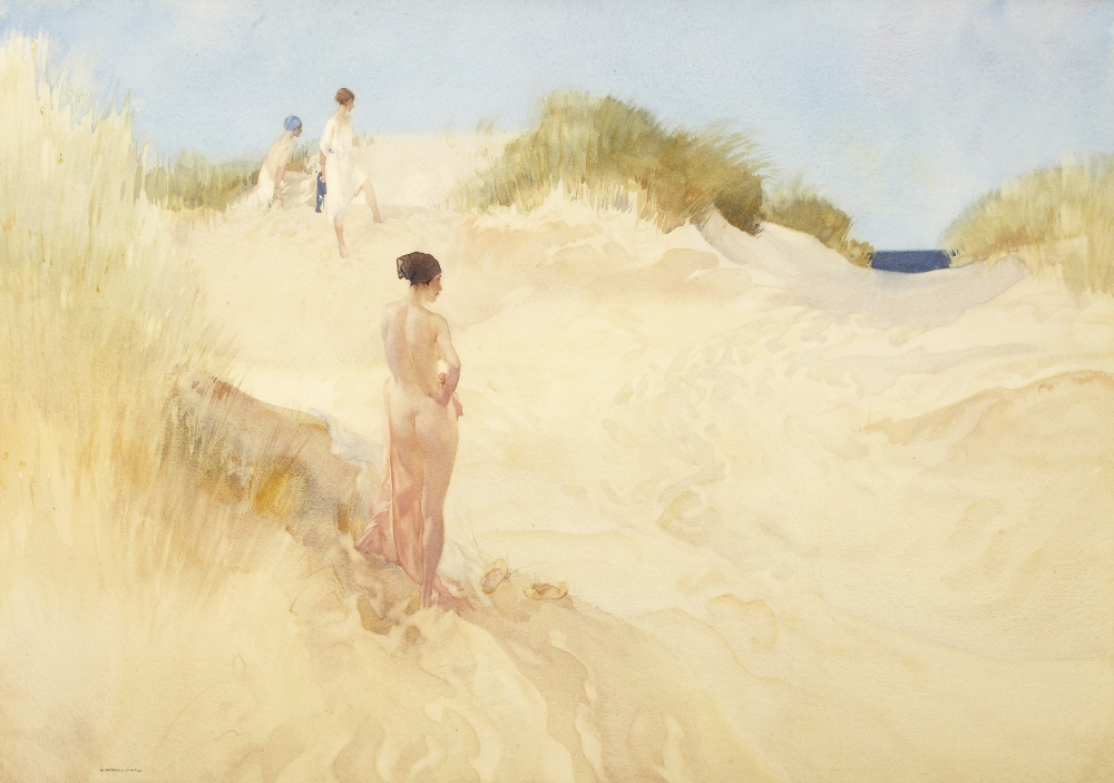 russell flint watercolour, track across the dunes