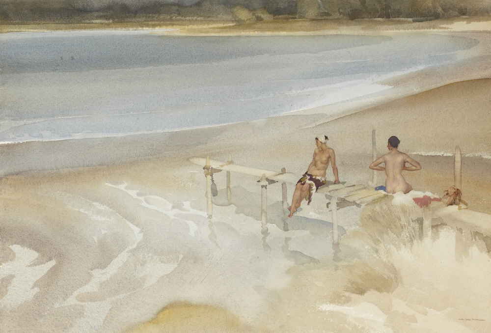 russell flint watercolour, two sisters and a jetty