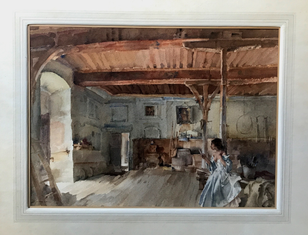 russell flint, original painting, Vanity in the old Guard Room, France
