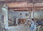 original watercolour painting, sir william russell flint, Vanity in the old Guard Room, France
