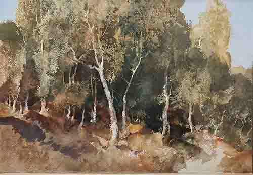 sir william russell flint, woodland, Surrey, original watercolour