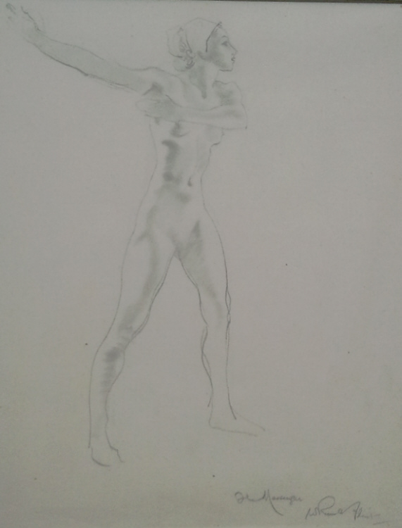 russell flint, pencil, nude 1, drawing
