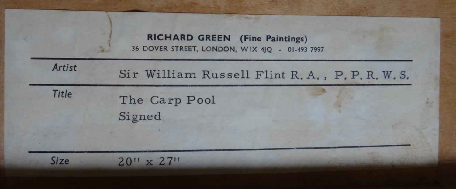 russell flint, original painting, carp pool, label