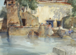 sir william russell flint, Koi pond, cecilia, original watercolour paintings