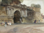 sir william russell flint, La Porte Chapelle, Compiegne, original watercolour paintings