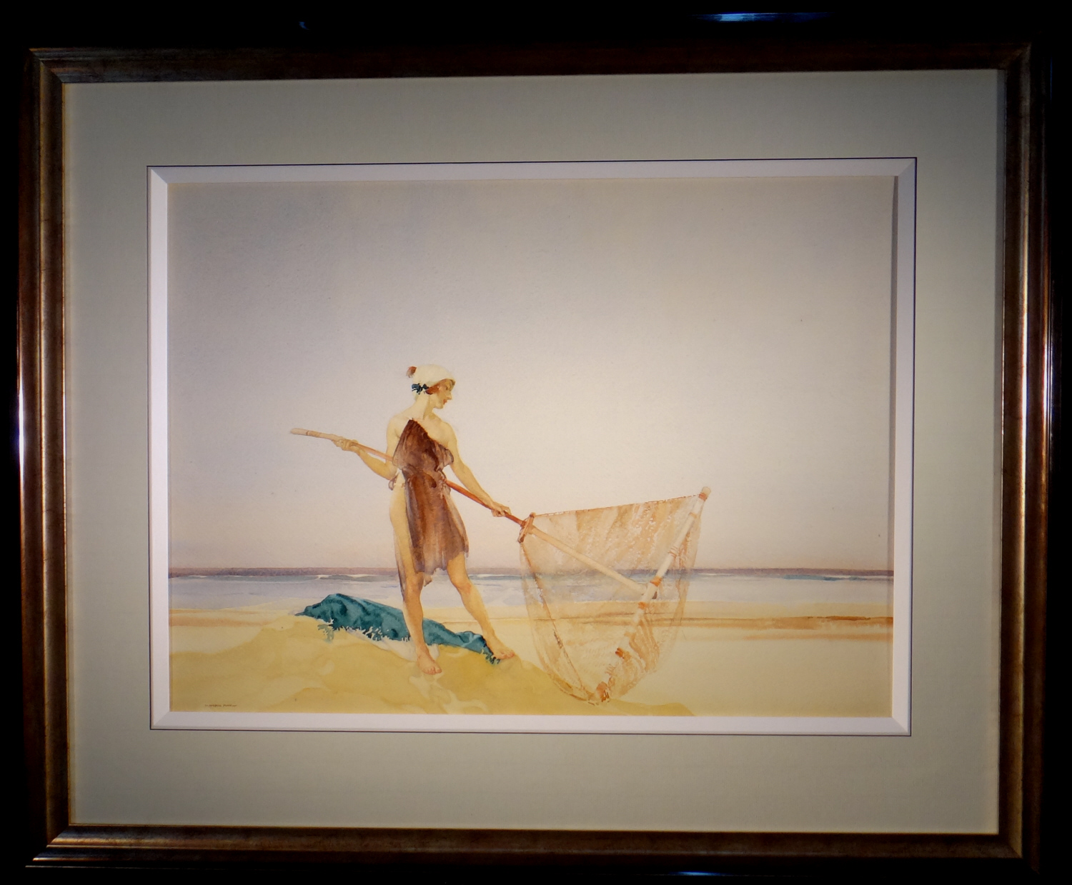 the shrimper, original watercolour, framed