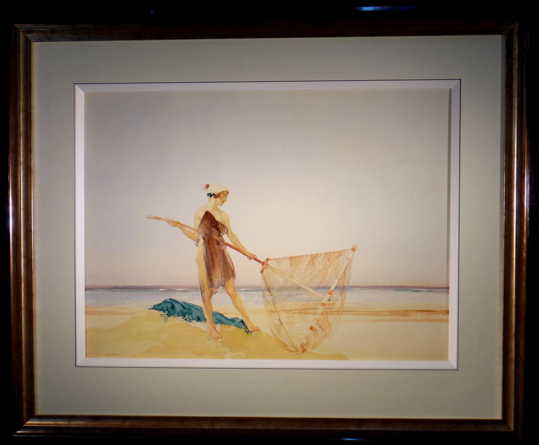 the shrimper, original watercolour, framed