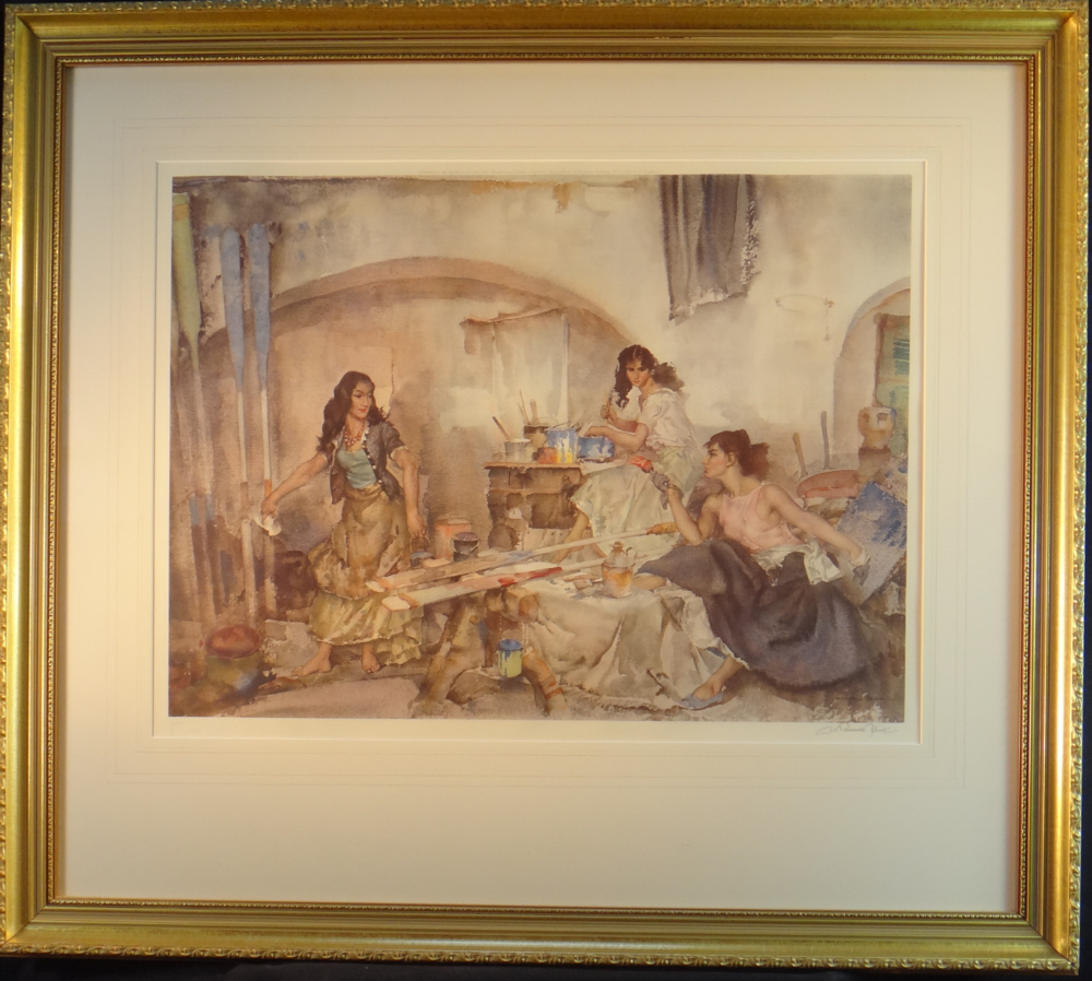 russell flint question of colour print, framed