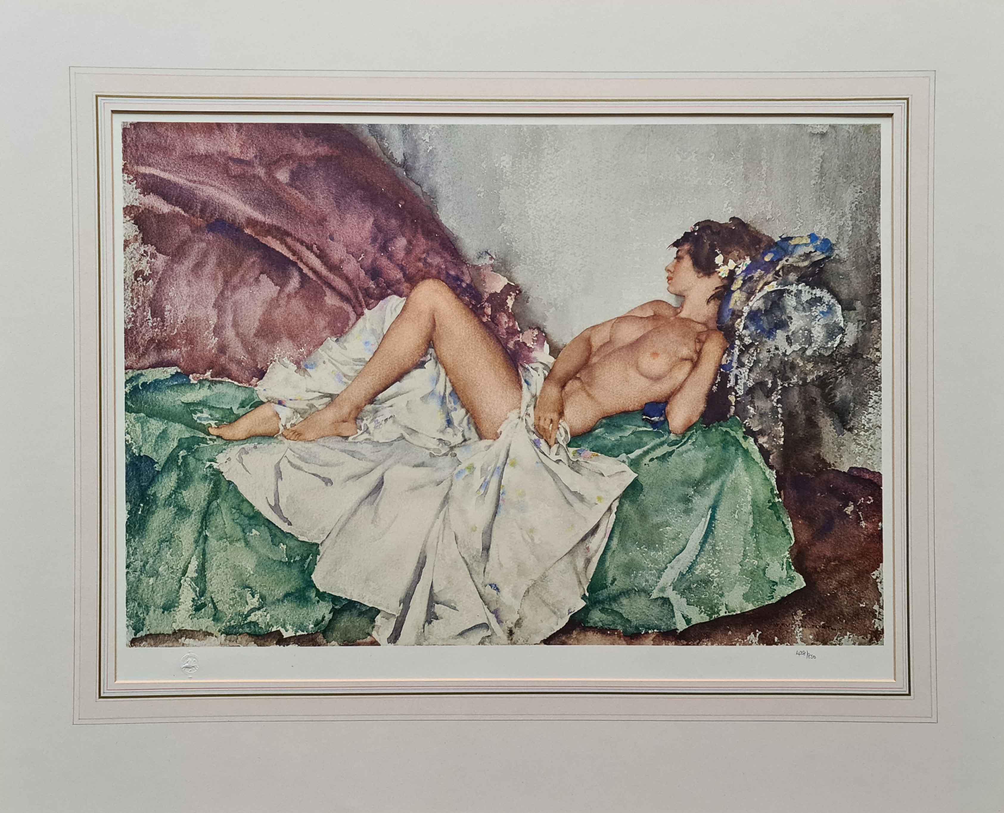 russell flint reclining nude III print