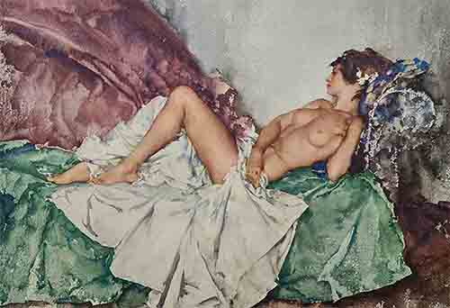 sir william russell flint, reclining nude III limited edition print