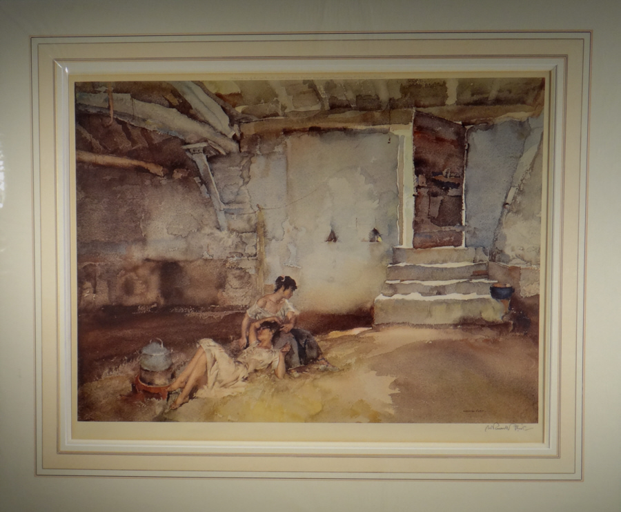 russell flint, signed limited edition, retreat from the sun, print