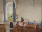 sir william russell flint, signed limited edition print, conversation piece