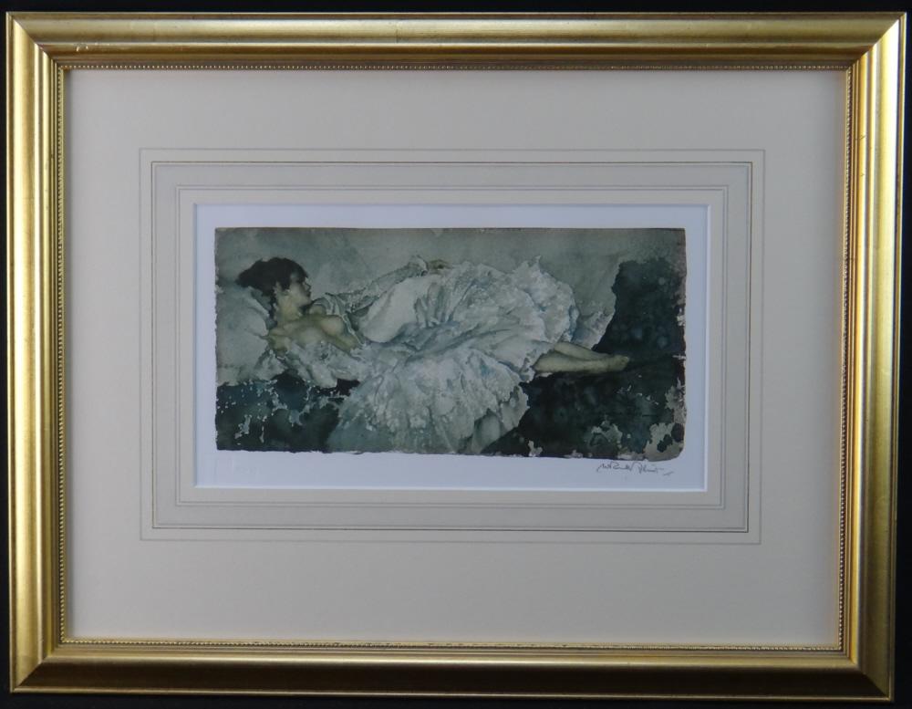 russell flint silver frock print framed