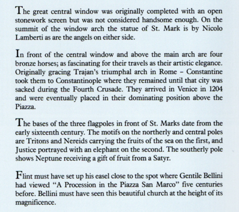 russell flint, st. marks, Venice, text