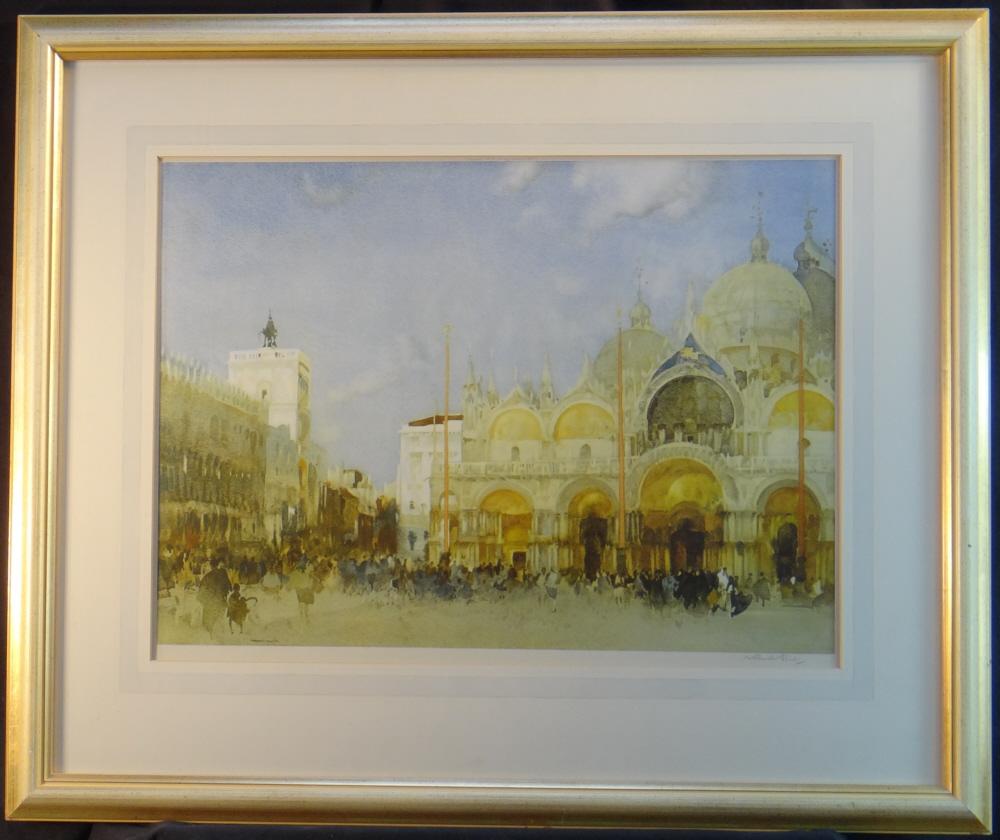 russell flint, st. marks, Venice, print, framed