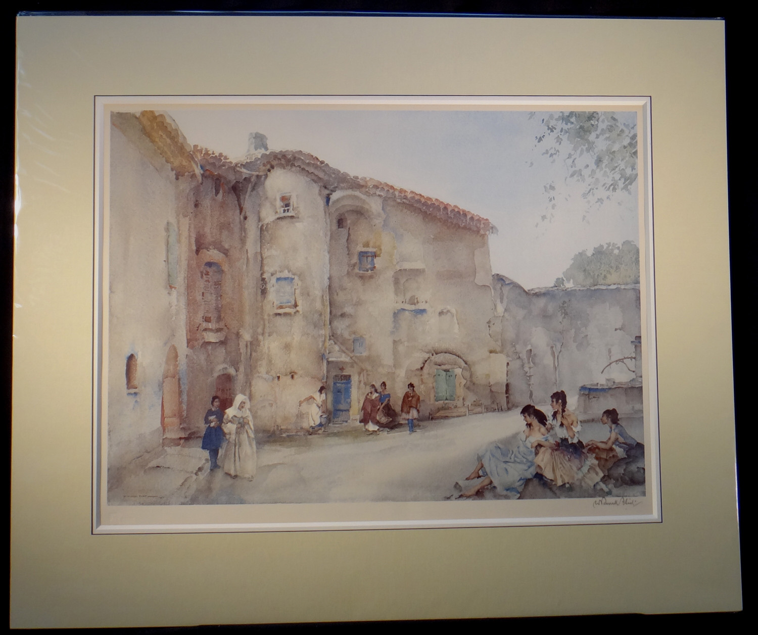 russell flint, signed limited edition, three groups, Viviers, print