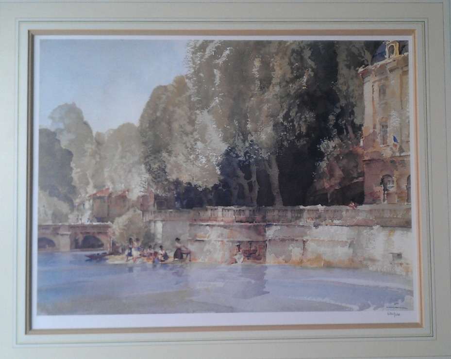 sir william russell flint paintings,Under the Terrace, Brantome