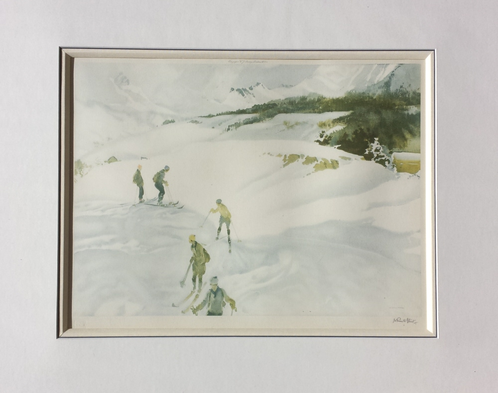 russell flint france  winter sport skiing print mounted